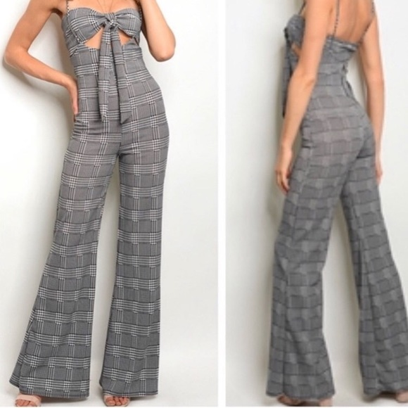 Pants - Houndstooth Two Piece Overall/ Jumper Set